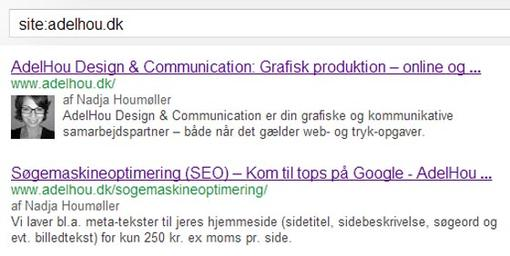 Meta-tekster set i Google